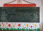 """Chùm ảnh về hội thi """"Viết chữ đẹp """" trên bảng của giáo viên trường TH Ngô Quyền  năm học 2020-2021"""